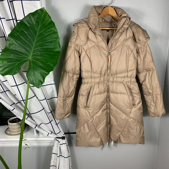 Cole Haan Zip-Front Puffer Coat Size Tan Size XS